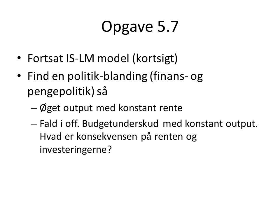 Opgave 5.7 Fortsat IS-LM model (kortsigt)