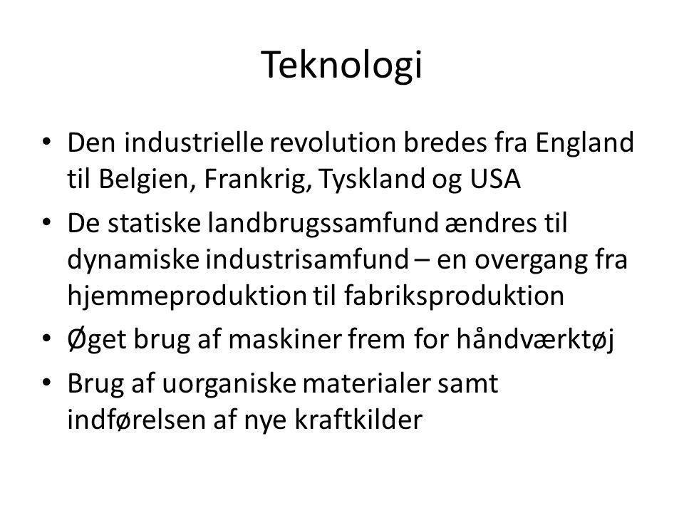Teknologi Den industrielle revolution bredes fra England til Belgien, Frankrig, Tyskland og USA.