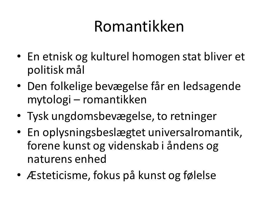 Romantikken En etnisk og kulturel homogen stat bliver et politisk mål