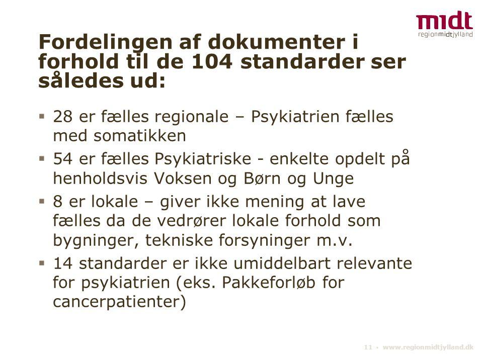 Fordelingen af dokumenter i forhold til de 104 standarder ser således ud: