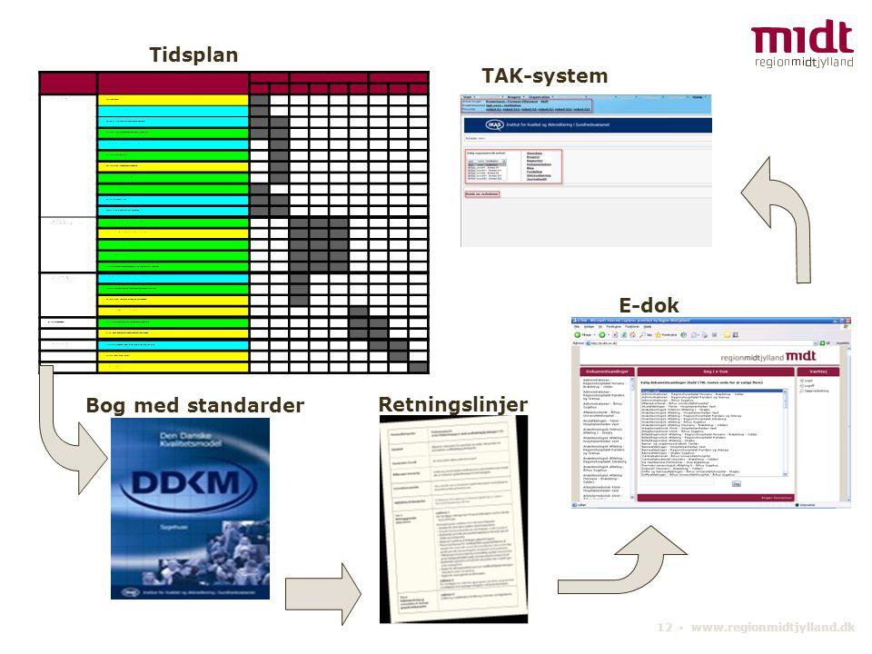 Tidsplan TAK-system E-dok Bog med standarder Retningslinjer