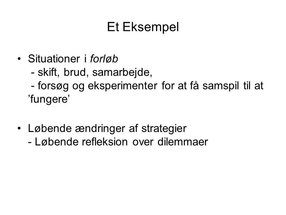 Et Eksempel Situationer i forløb - skift, brud, samarbejde, - forsøg og eksperimenter for at få samspil til at 'fungere'