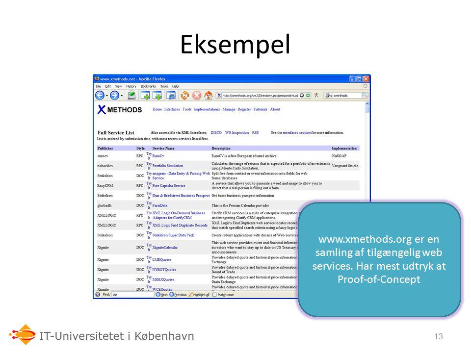 Eksempel www.xmethods.org er en samling af tilgængelig web services.