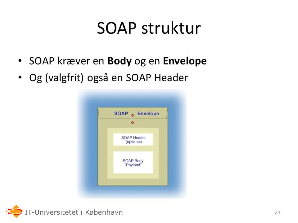 SOAP struktur SOAP kræver en Body og en Envelope