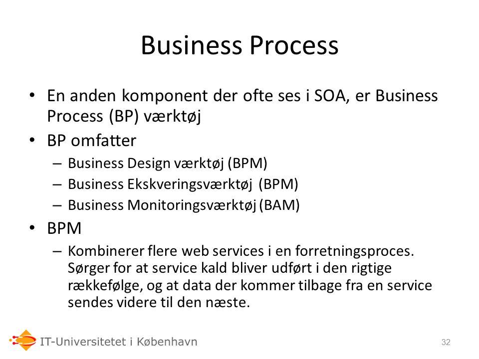 24-09-06 Business Process. En anden komponent der ofte ses i SOA, er Business Process (BP) værktøj.