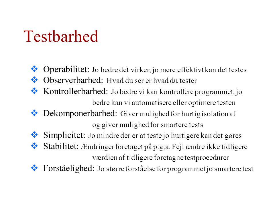 Testbarhed Operabilitet: Jo bedre det virker, jo mere effektivt kan det testes. Observerbarhed: Hvad du ser er hvad du tester.