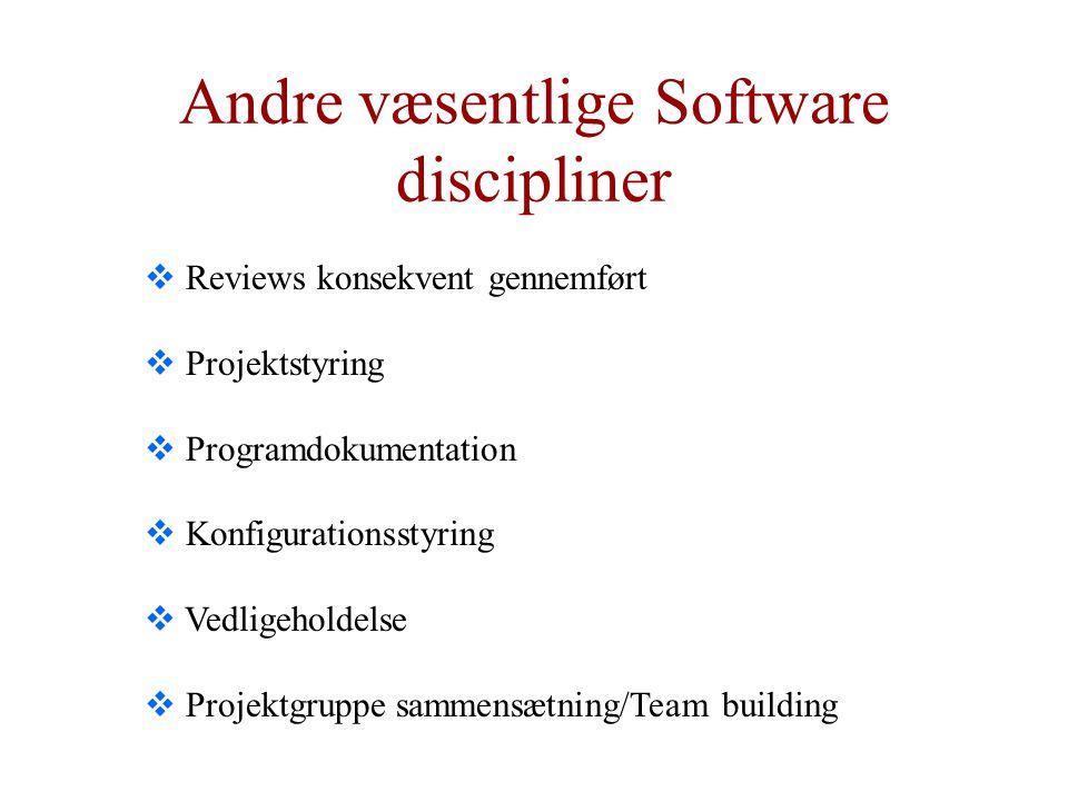 Andre væsentlige Software discipliner