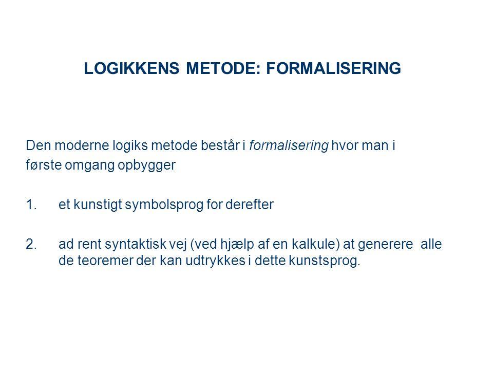 LOGIKKENS METODE: FORMALISERING