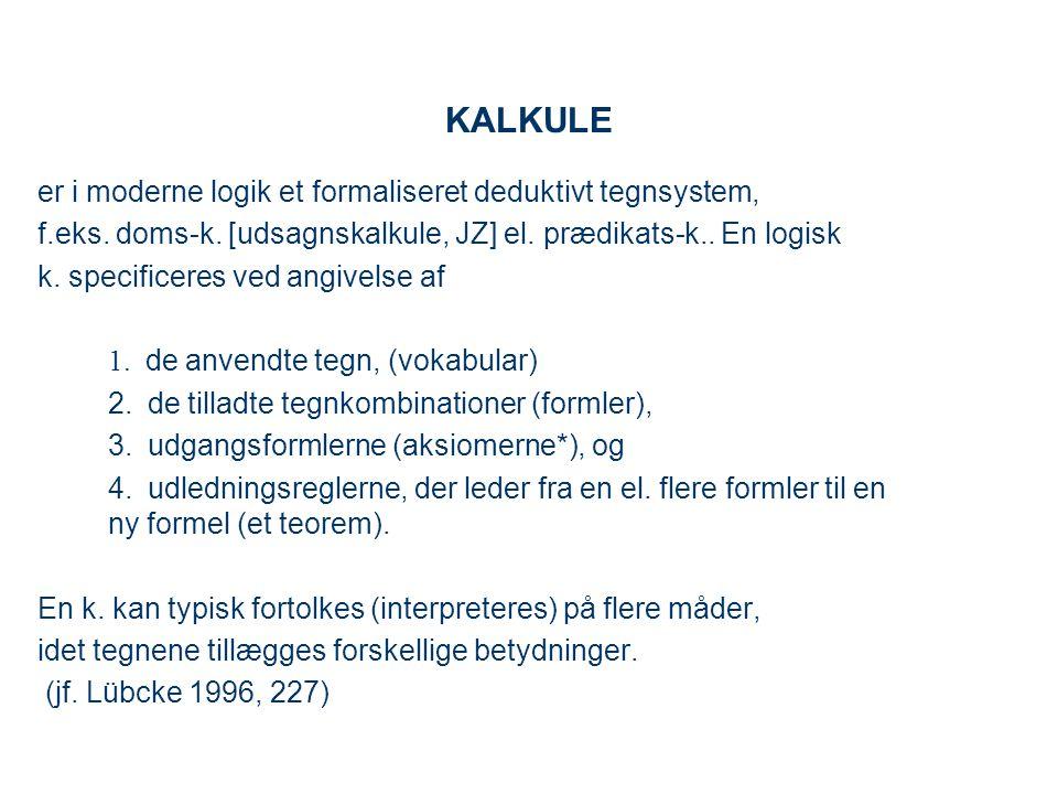 KALKULE er i moderne logik et formaliseret deduktivt tegnsystem,