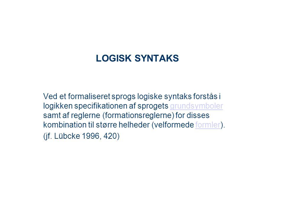 LOGISK SYNTAKS