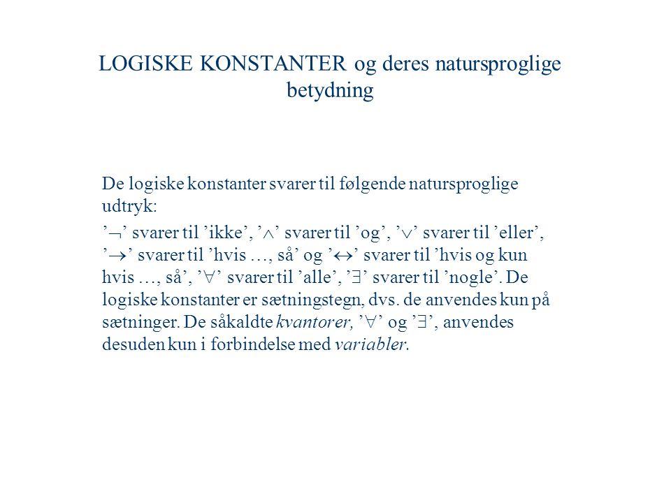 LOGISKE KONSTANTER og deres natursproglige betydning