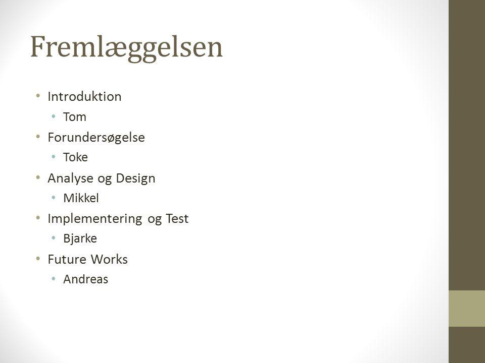 Fremlæggelsen Introduktion Forundersøgelse Analyse og Design