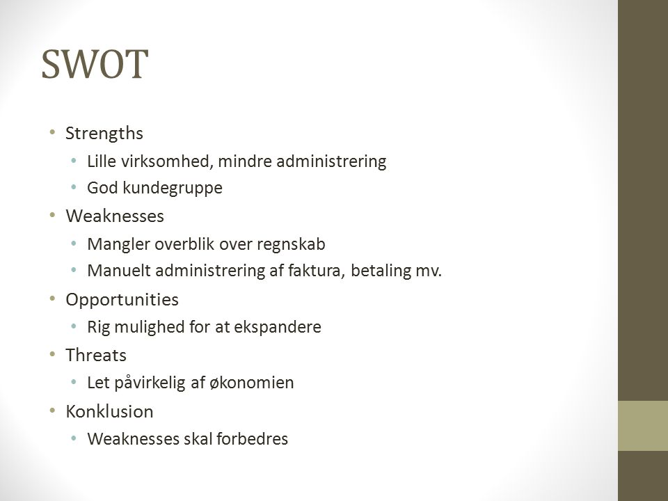 SWOT Strengths Weaknesses Opportunities Threats Konklusion