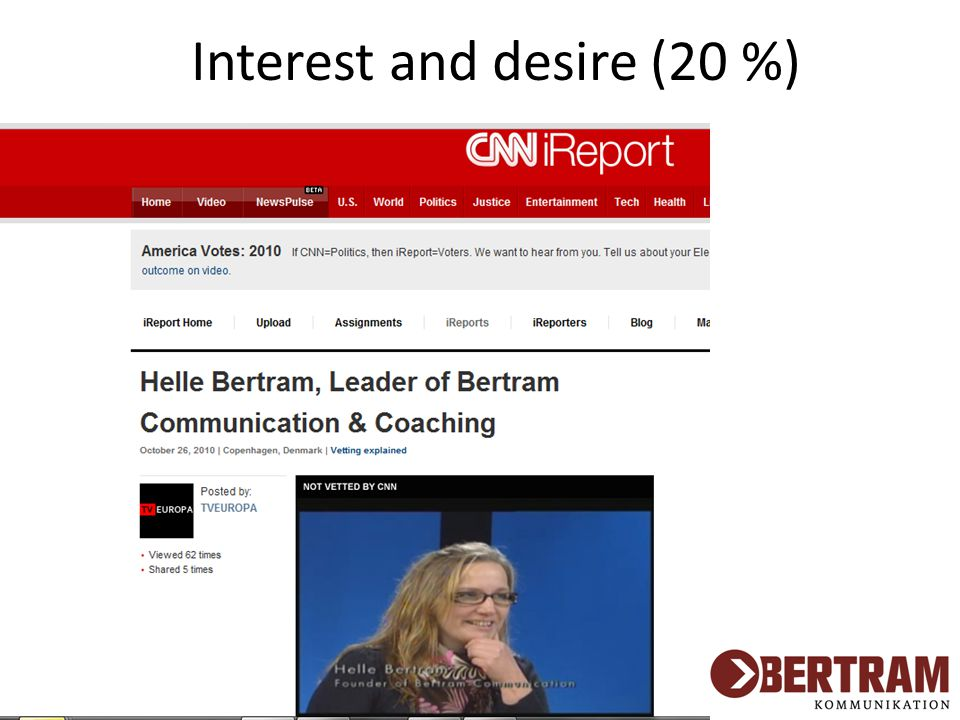 Interest and desire (20 %)