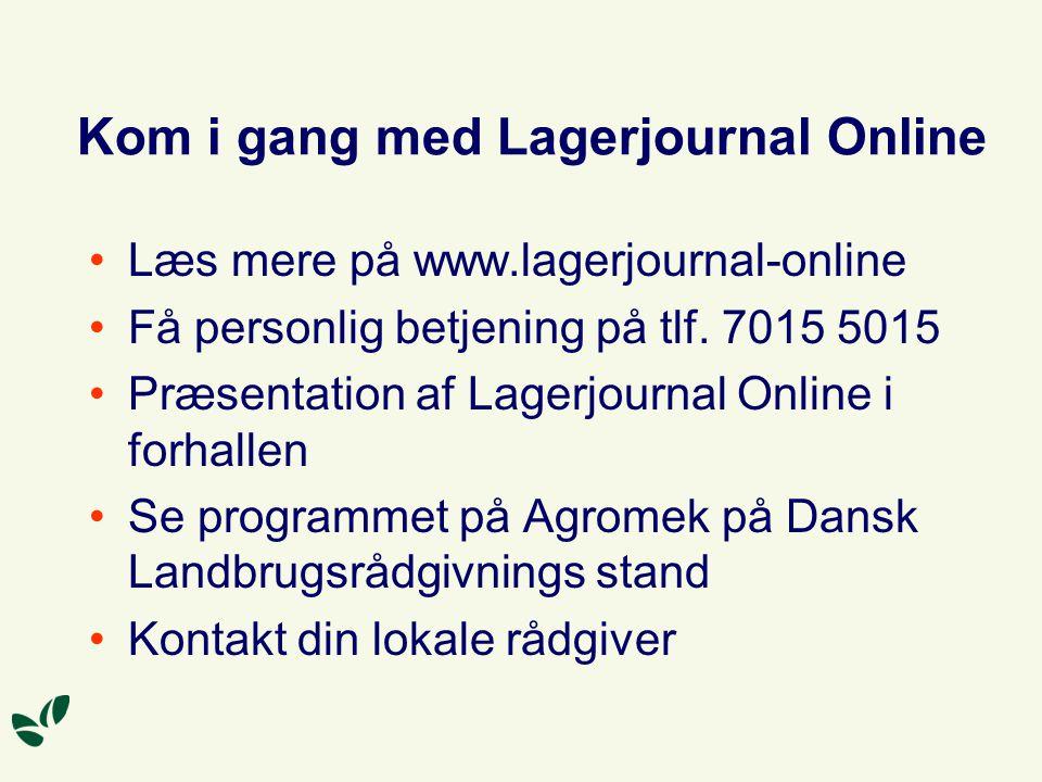 Kom i gang med Lagerjournal Online