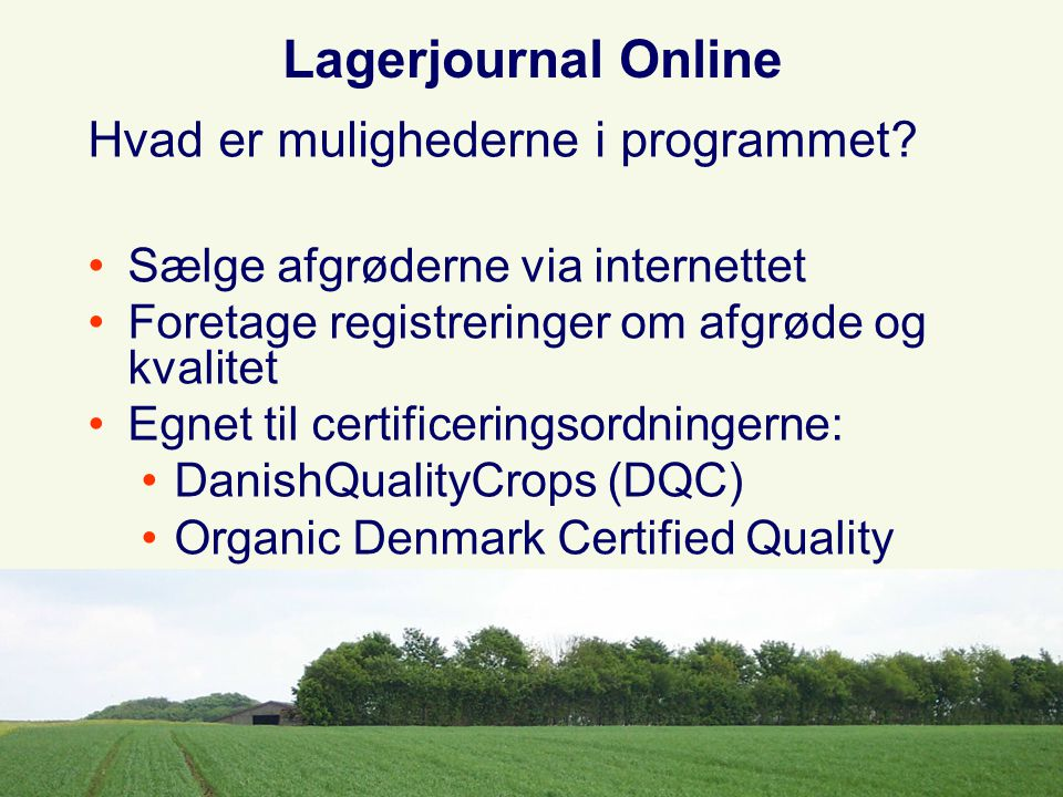 Lagerjournal Online Hvad er mulighederne i programmet