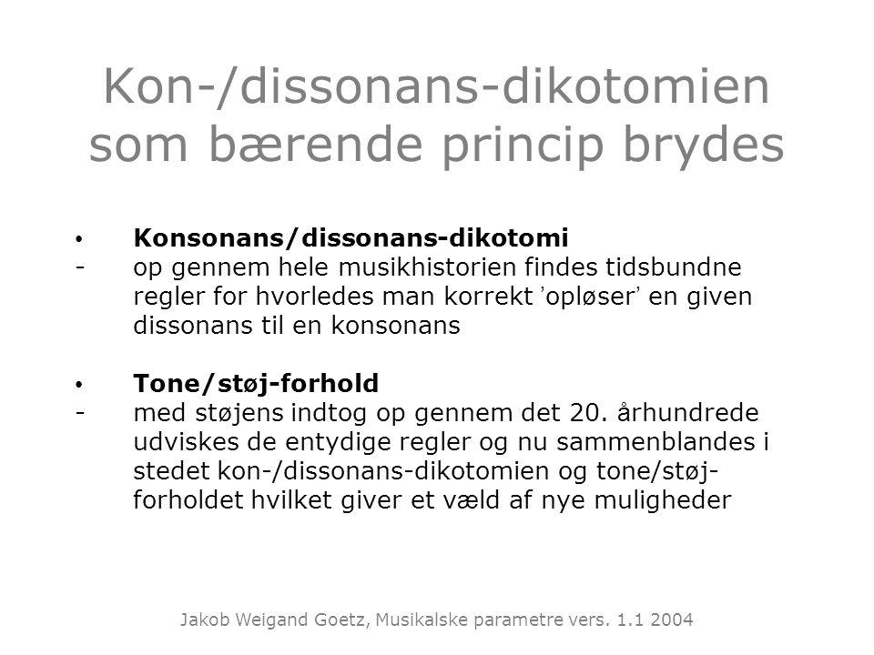 Kon-/dissonans-dikotomien som bærende princip brydes