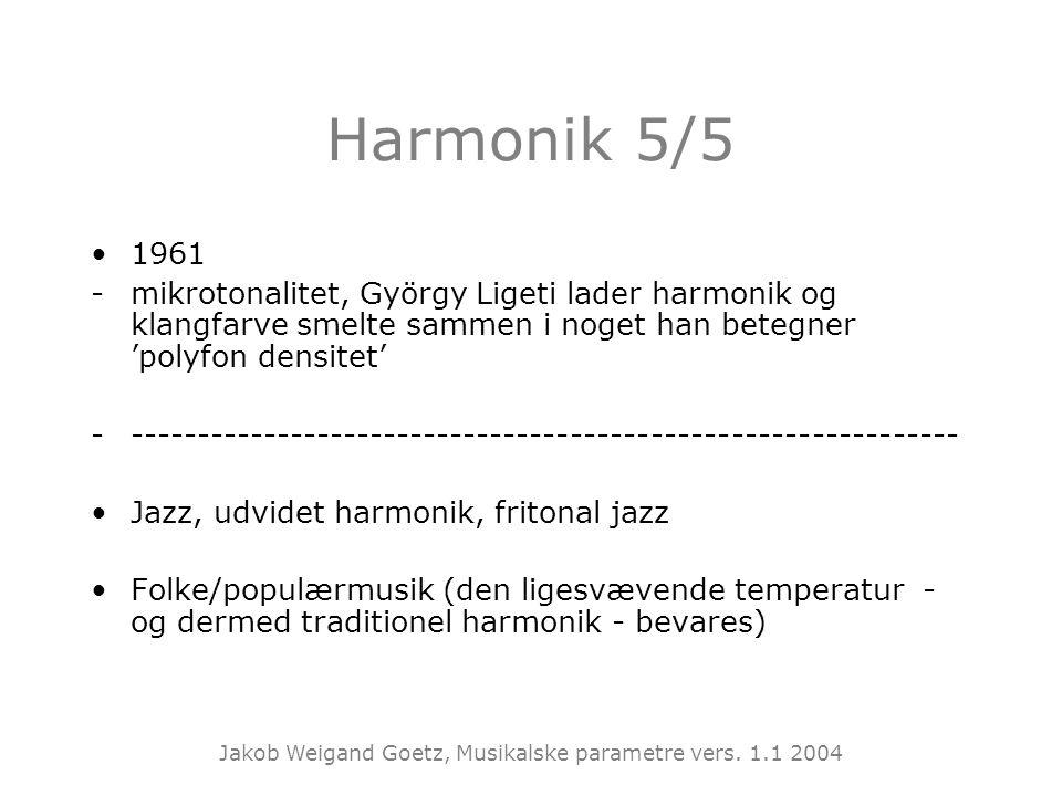 Harmonik 5/5 1961. mikrotonalitet, György Ligeti lader harmonik og klangfarve smelte sammen i noget han betegner 'polyfon densitet'