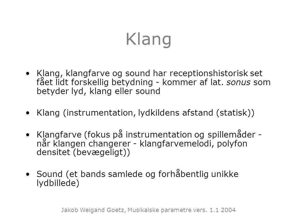 Klang Klang, klangfarve og sound har receptionshistorisk set fået lidt forskellig betydning - kommer af lat. sonus som betyder lyd, klang eller sound.