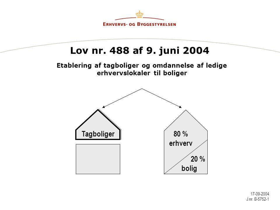 Lov nr. 488 af 9. juni 2004 Tagboliger 80 % erhverv 20 % bolig