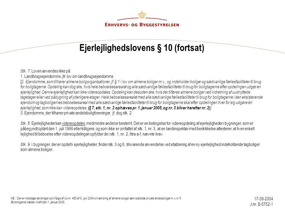Ejerlejlighedslovens § 10 (fortsat)