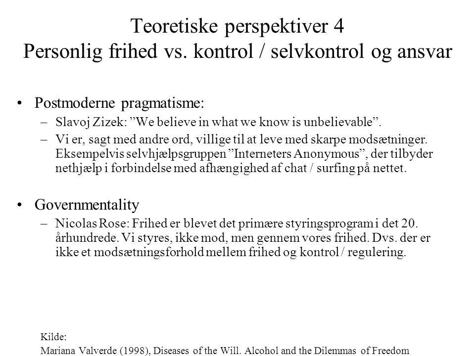 Teoretiske perspektiver 4 Personlig frihed vs
