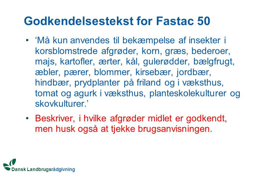 Godkendelsestekst for Fastac 50
