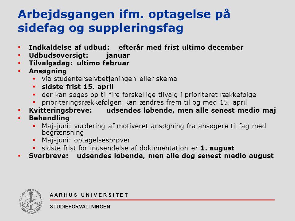 Arbejdsgangen ifm. optagelse på sidefag og suppleringsfag