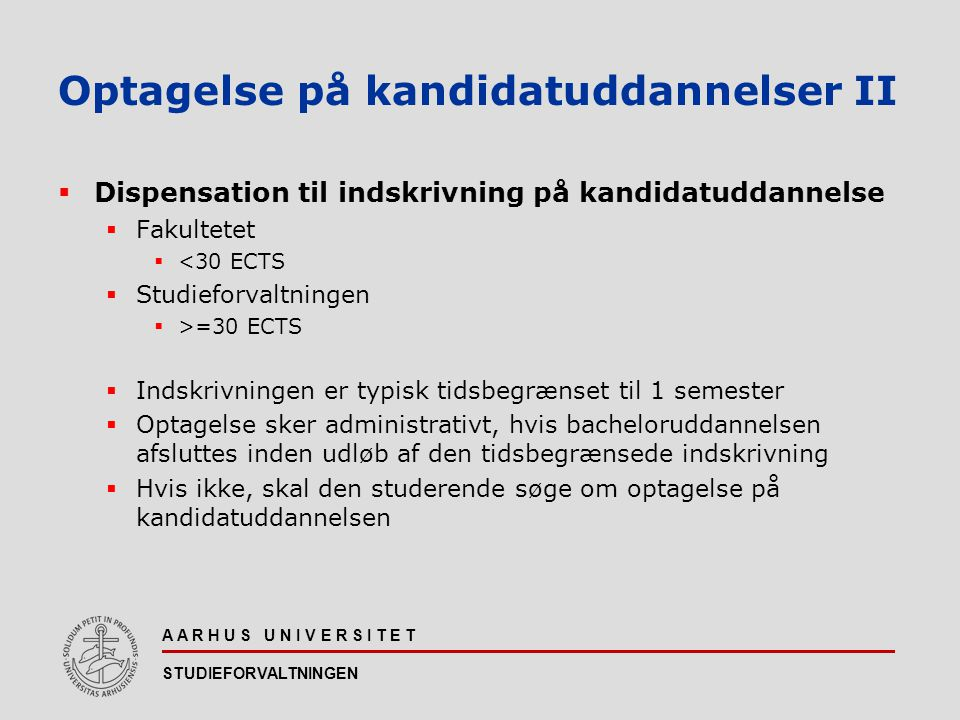 Optagelse på kandidatuddannelser II