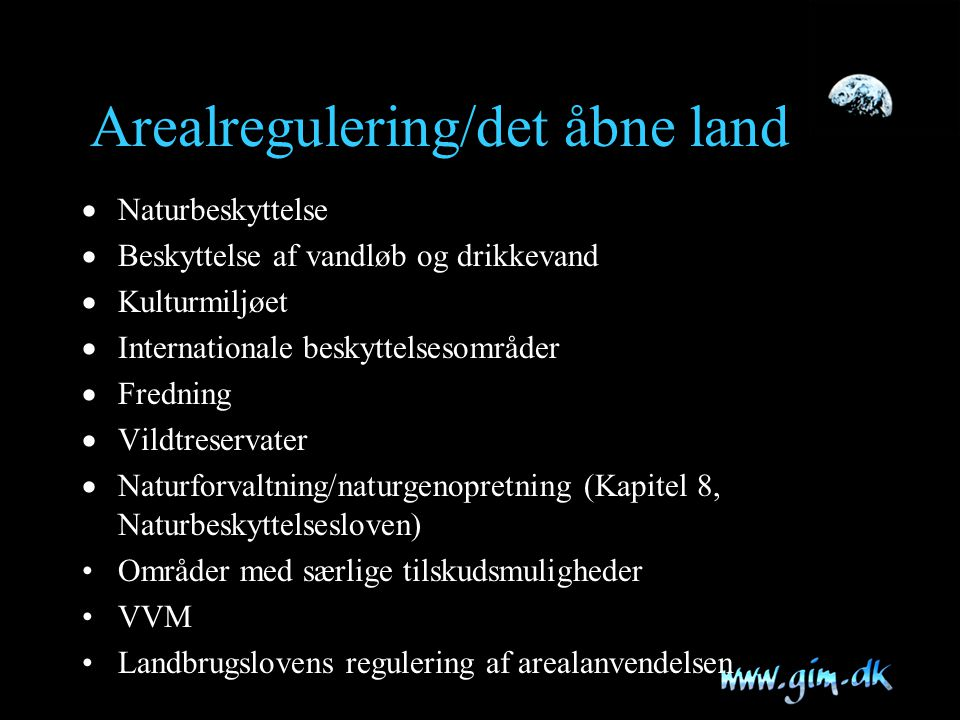 Arealregulering/det åbne land