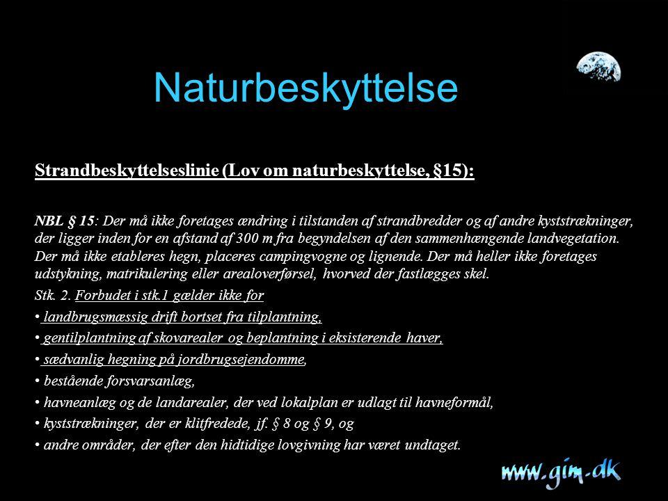 Naturbeskyttelse Strandbeskyttelseslinie (Lov om naturbeskyttelse, §15):