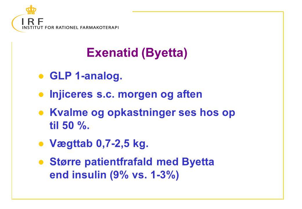 Exenatid (Byetta) GLP 1-analog. Injiceres s.c. morgen og aften