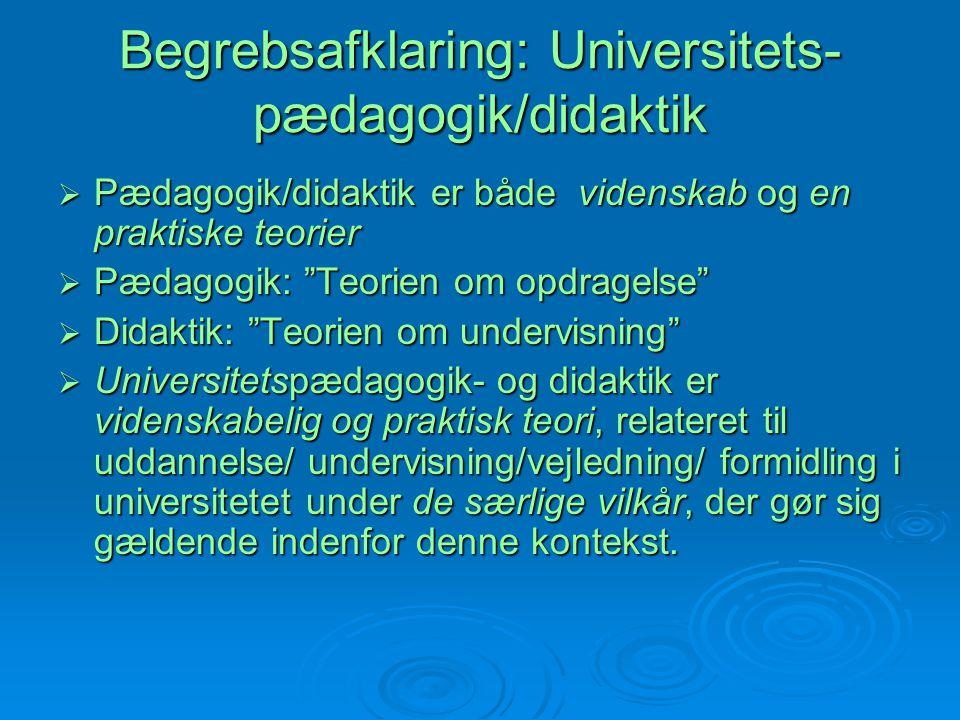 Begrebsafklaring: Universitets-pædagogik/didaktik