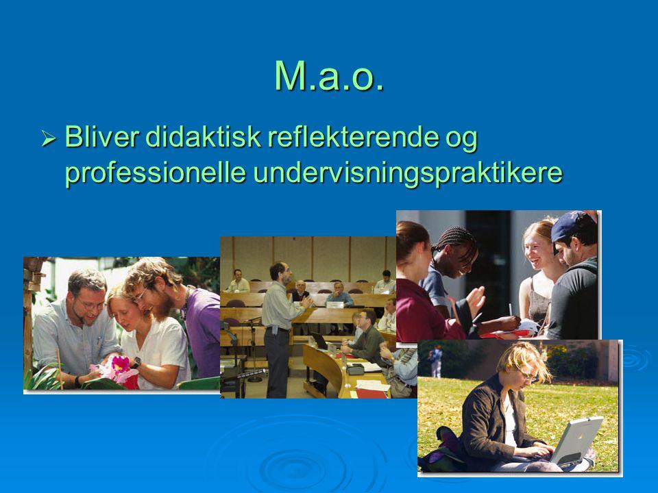 M.a.o. Bliver didaktisk reflekterende og professionelle undervisningspraktikere