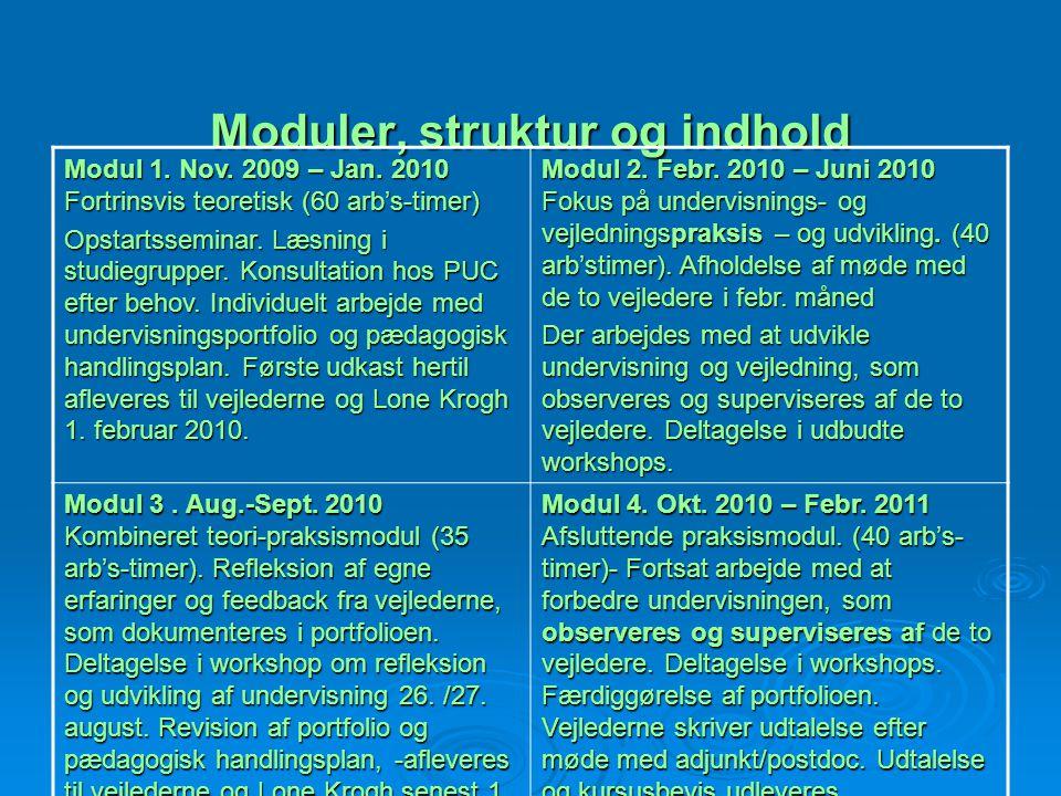Moduler, struktur og indhold