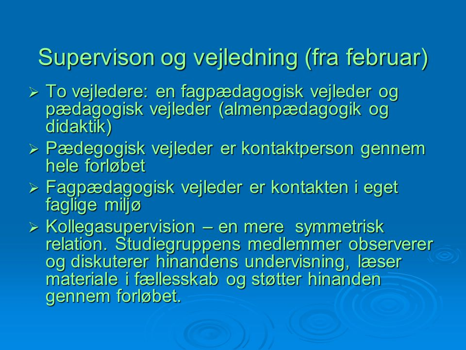 Supervison og vejledning (fra februar)
