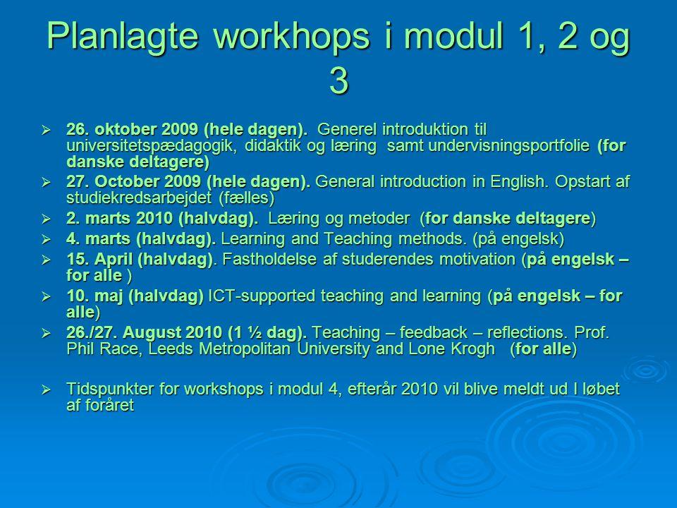 Planlagte workhops i modul 1, 2 og 3