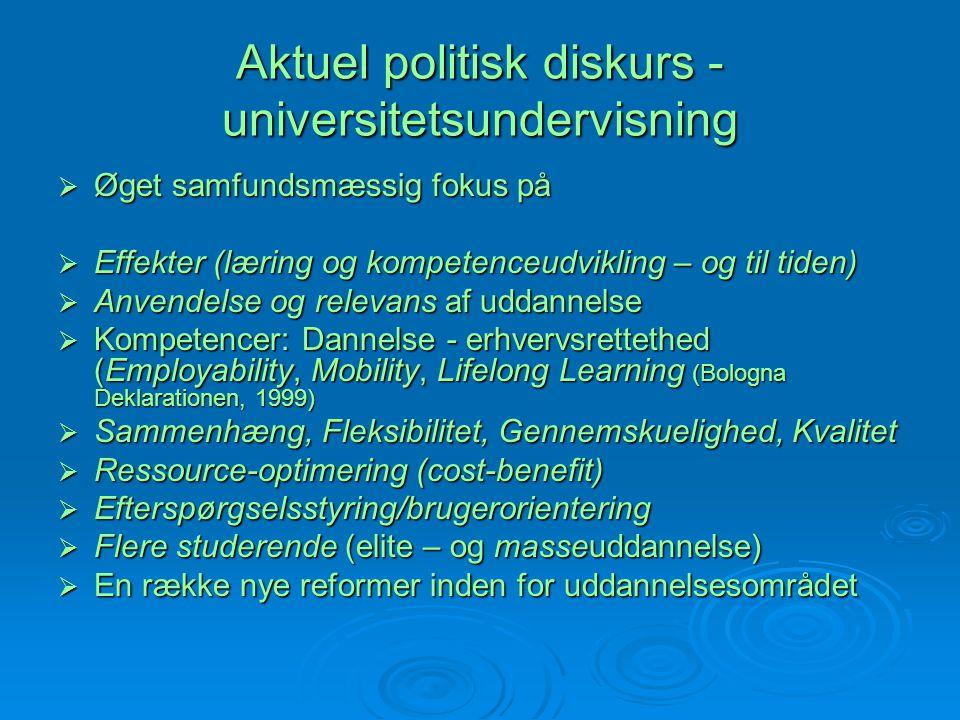 Aktuel politisk diskurs - universitetsundervisning