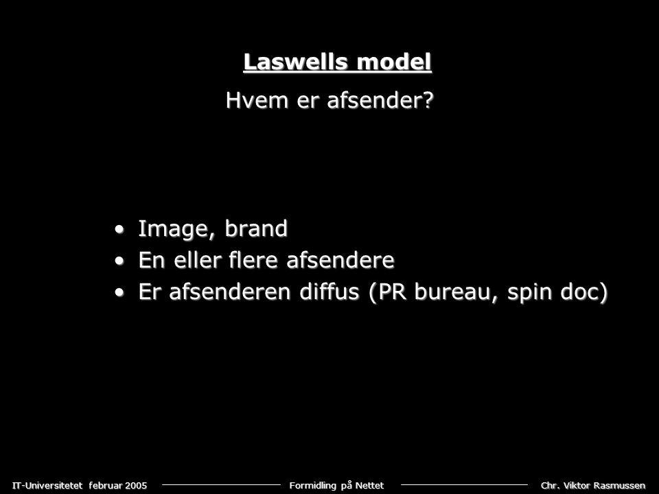 Laswells model Hvem er afsender. Image, brand. En eller flere afsendere.