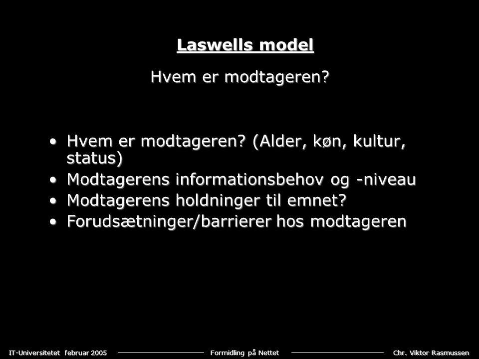 Laswells model Hvem er modtageren Hvem er modtageren (Alder, køn, kultur, status) Modtagerens informationsbehov og -niveau.