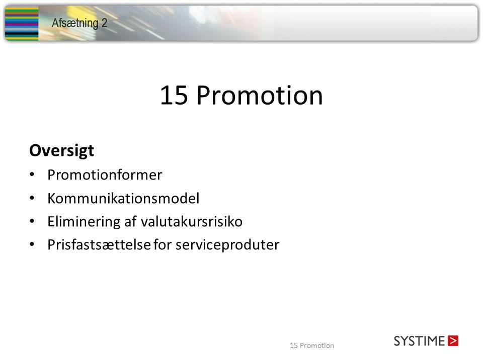 15 Promotion Oversigt Promotionformer Kommunikationsmodel