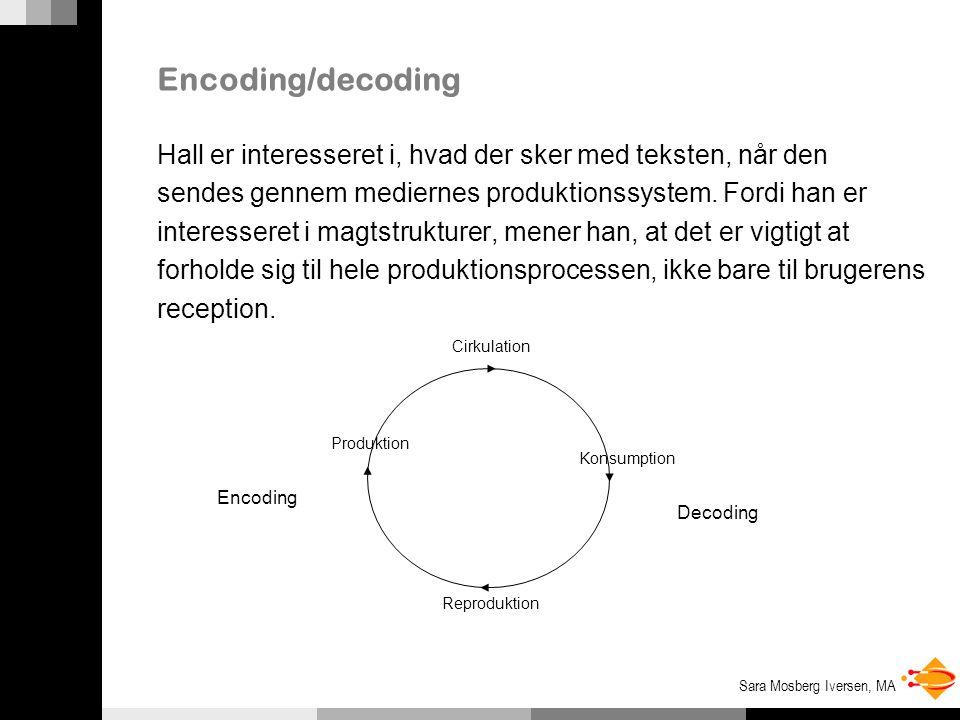 Encoding/decoding Hall er interesseret i, hvad der sker med teksten, når den. sendes gennem mediernes produktionssystem. Fordi han er.