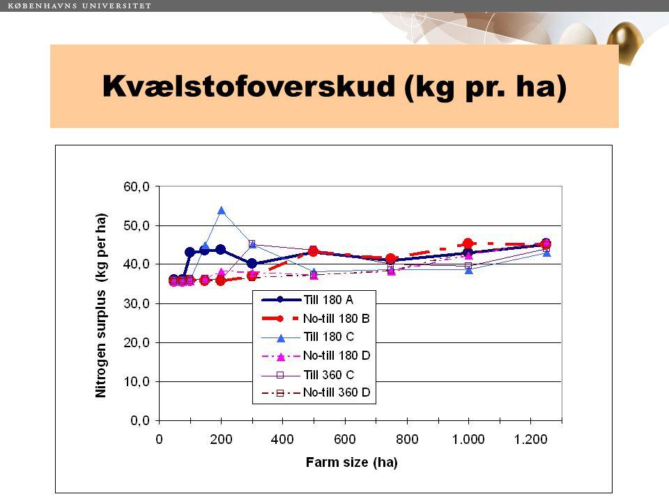 Kvælstofoverskud (kg pr. ha)