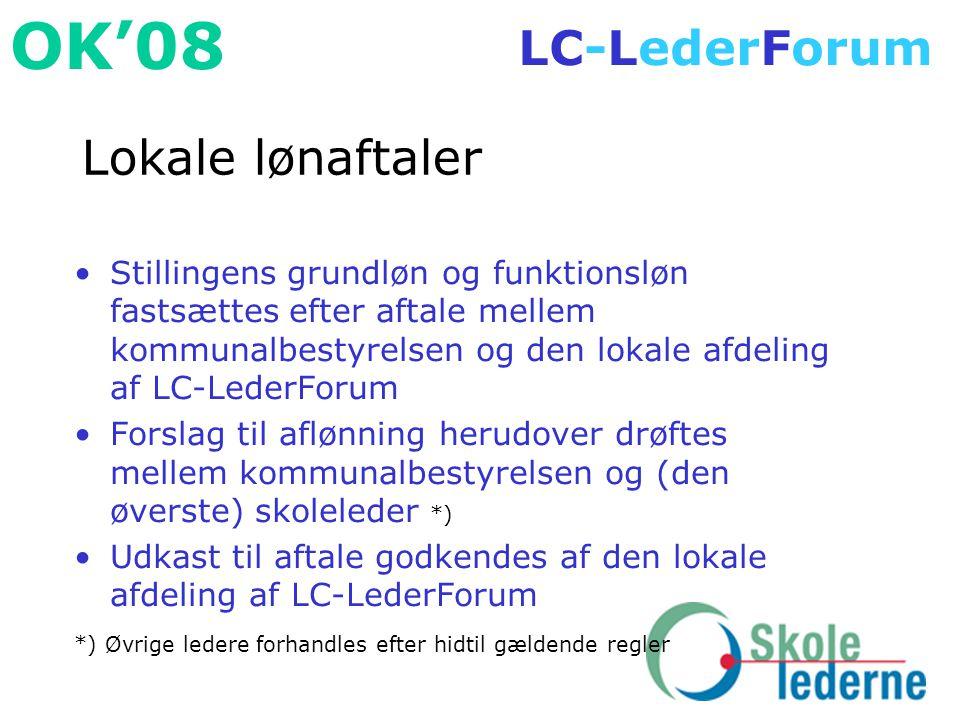 Lokale lønaftaler Stillingens grundløn og funktionsløn fastsættes efter aftale mellem kommunalbestyrelsen og den lokale afdeling af LC-LederForum.