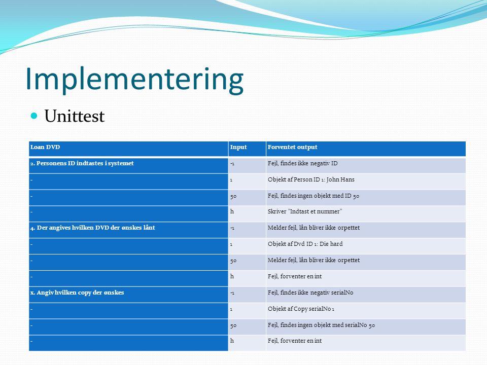 Implementering Unittest Loan DVD Input Forventet output