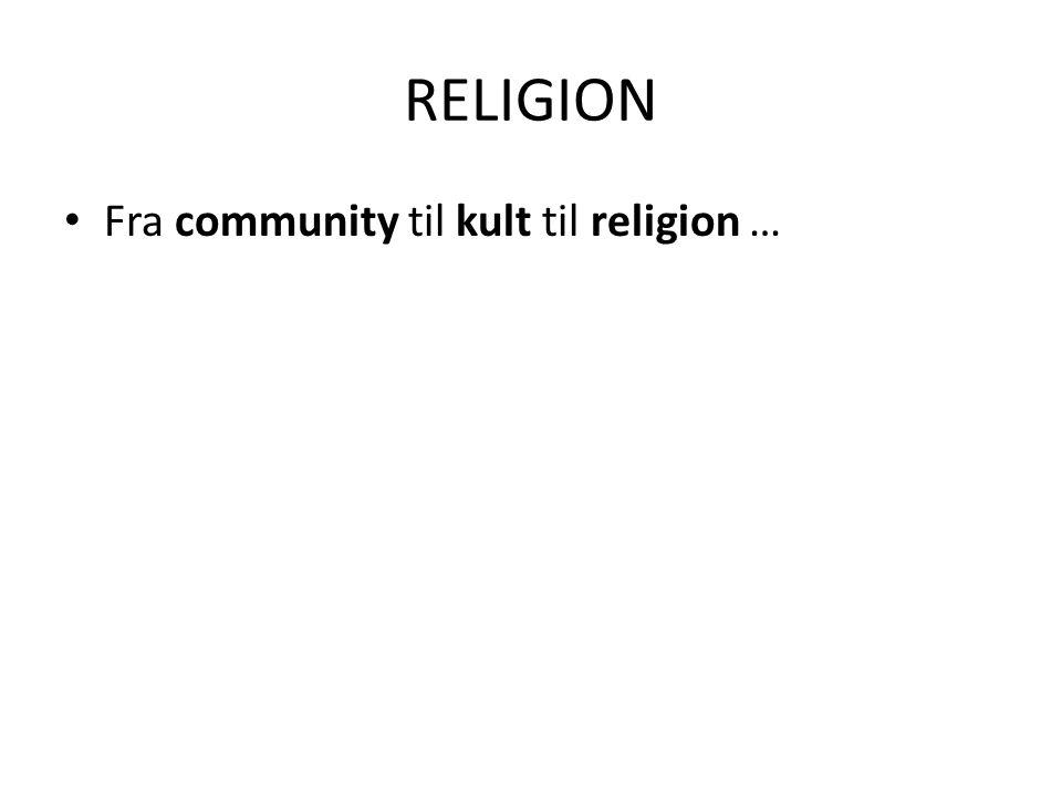 RELIGION Fra community til kult til religion …