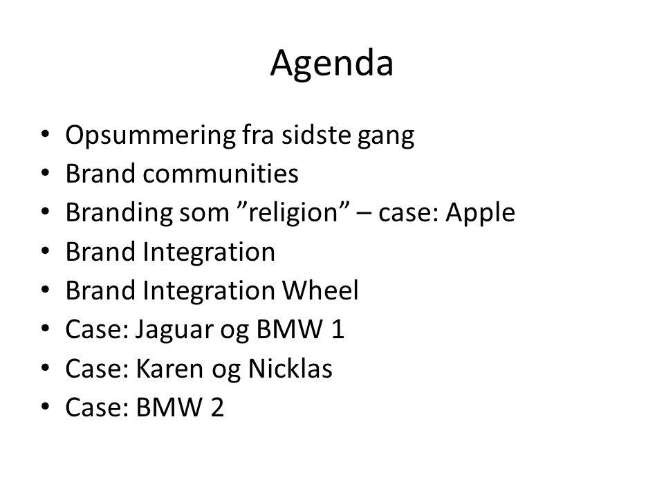 Agenda Opsummering fra sidste gang Brand communities