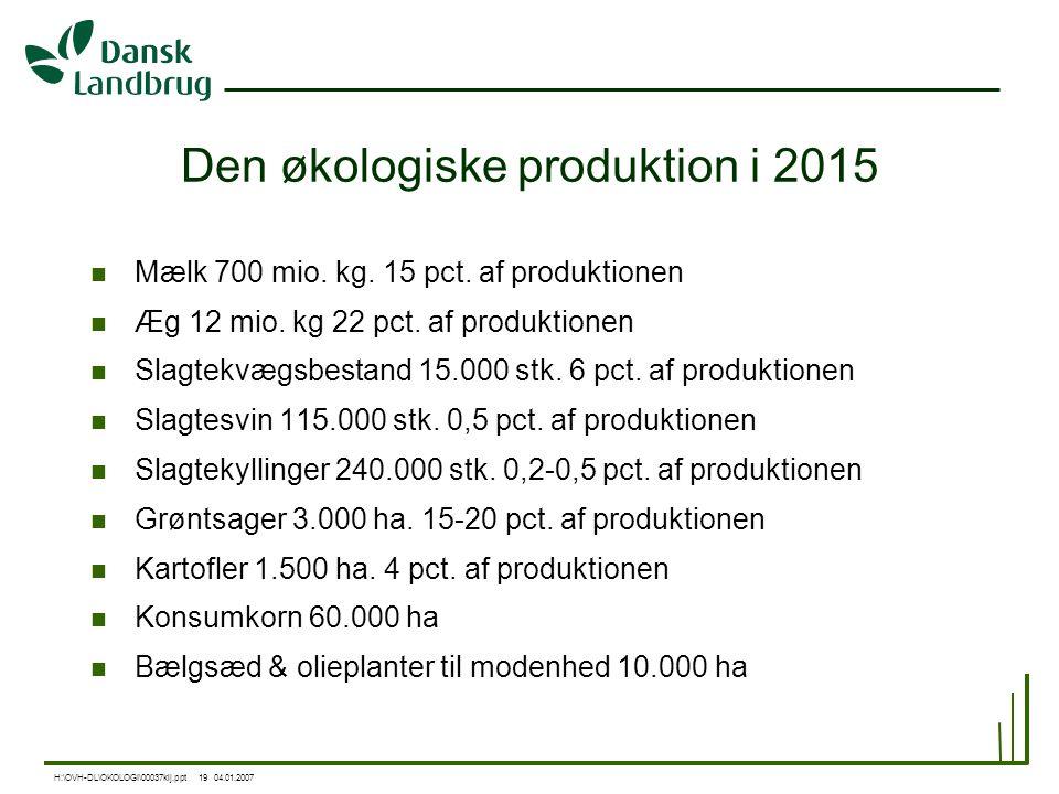 Den økologiske produktion i 2015