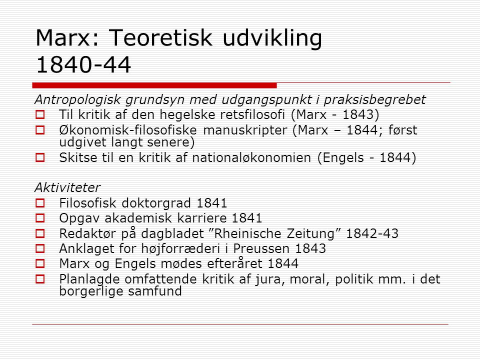 Marx: Teoretisk udvikling 1840-44