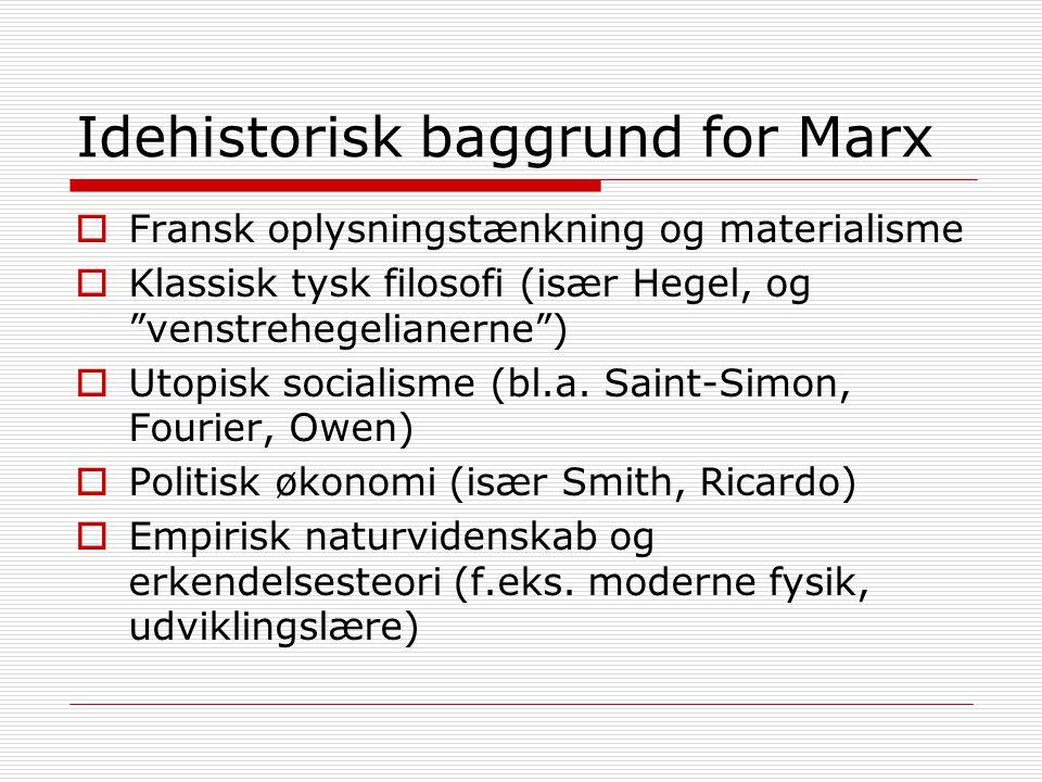 Idehistorisk baggrund for Marx